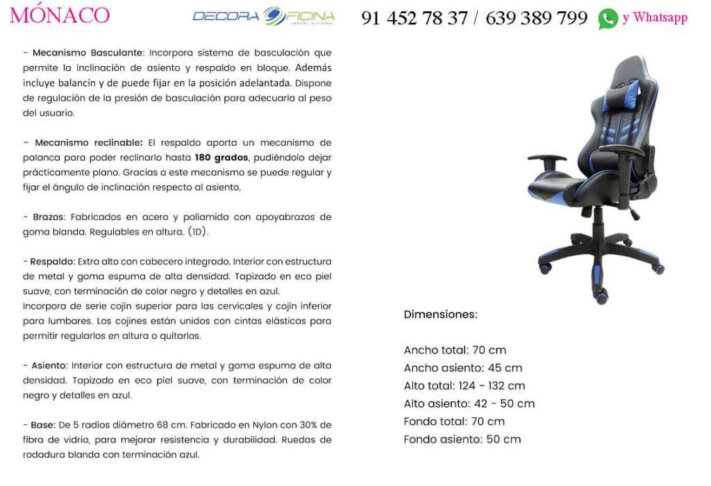 Ficha Sillon Gaming Mónaco