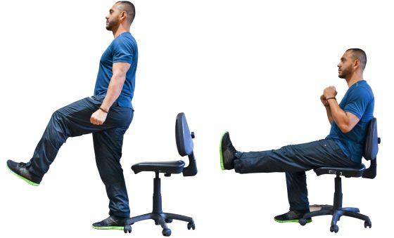como fortalecer las piernas en una silla de oficina